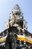Singha Statue with Pagoda in Wat Kru Toa , Chiangmai Thailand Royalty Free Stock Image