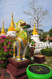 Singha statue in temple, Thailand Royalty Free Stock Images