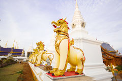 Singha statue in the temple Stock Images