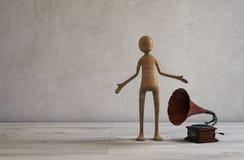 Singin en het luisteren muziek van een retro gestileerde grammofoon 3D Illustratie Royalty-vrije Stock Foto's