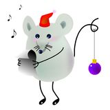 Singing. Little mice is singing a christmas song Stock Photography
