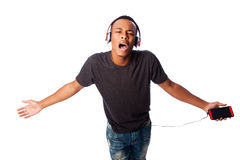 Singing along while listening to music Stock Photos