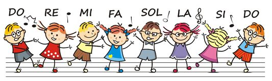 Free Singing And Dancing Children, Do,re,mi,fa,sol,la,si,do, Eps. Royalty Free Stock Image - 186073276