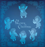 Singing angel  ornamental coner Christmas. High decorated rich ornament of frosty pattern angels singing Stock Images