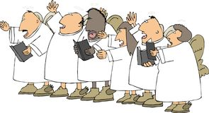 Singing angels. This illustration depicts a group of singing angels Royalty Free Stock Photography