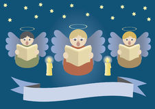 Singing angels. Angels singing on Christmas stardust sky, singing angels, singing, christmas, xmas, heaven, celebration, heavenly, belief, religion, advent, halo Royalty Free Stock Photos