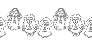 Singing angels with candles on white. Cute handdrawn monochrome illustration with  singing angels with candles seamless horizontal border on white background Royalty Free Stock Image