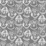 Singing angels on dark seamless pattern Royalty Free Stock Image