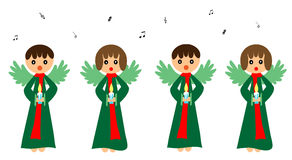 Singing angels. Four Cute angels singing isolated on white Stock Images