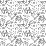 Singing angels on white seamless pattern. Cute handdrawn illustration with  singing angels with candles monochrome seamless pattern on white background Royalty Free Stock Photography