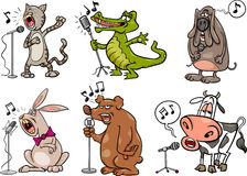 Singing animals set cartoon illustration Royalty Free Stock Image