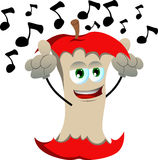 Singing apple core Royalty Free Stock Image
