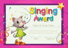 Singing award template with kitten singer. Illustration Royalty Free Stock Photo