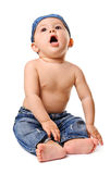 Singing baby-boy in jeans Stock Photography