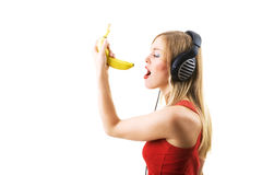 Singing the banana Stock Image