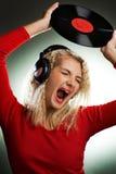 Singing beautiful woman stock photo