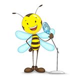 Singing Bee. Vector illustration of bee singing in mike stock illustration