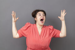Singing big woman expressing herself like a drama queen Stock Photo