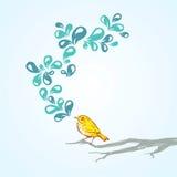Singing bird. A hand drawn singing bird Stock Photos