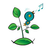 Singing Bird. Bird singer song note tune grass plant green leave Stock Photography