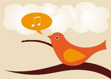 Singing Bird. On tree branch Royalty Free Stock Image