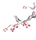 Singing bird. On a flowering branch. Picture in traditional east style by India ink Stock Photo