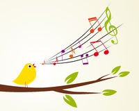 Singing bird. On a branch (Vector illustration Stock Images