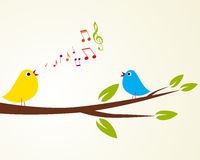 Singing bird. On a branch (Vector illustration Stock Photos