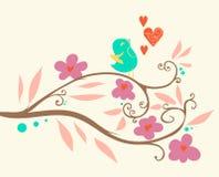 Singing bird on a branch. Vector illustration Stock Image