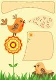 Singing bird. Greeting card. Royalty Free Stock Image