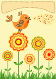 Singing bird. Greeting card. Royalty Free Stock Photos
