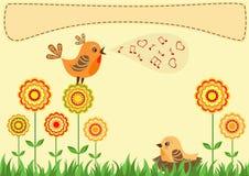Singing bird. Greeting card. Stock Photos