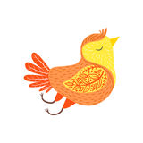 Singing Bird Relaxed Cartoon Wild Animal With Closed Eyes Decorated With Boho Hipster Style Floral Motives And Patterns Stock Photography