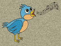 Singing bird relief painting on generated knit backgroun Royalty Free Stock Images