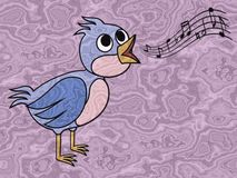 Singing bird relief painting on generated marble background Stock Photos