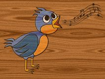 Singing bird relief painting on generated wood backgroun Stock Photography
