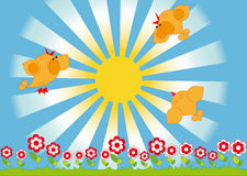 Singing birds and the sun. Spring landscape. Singing birds and flowers on the background of the sun Stock Photos