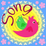 The singing of birds. Two cute birds. Cartoon Royalty Free Stock Photos