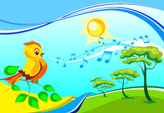 Singing birdy on a branch. Vector landscape with a singing birdy on a branch in a sunny day Royalty Free Stock Photography