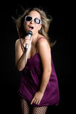 Singing Blond Woman Stock Images