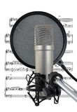 Singing The Blues. Vocal mic, pop-shield and sheet music for recording a singer Royalty Free Stock Photos