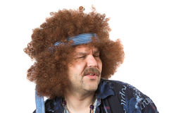 Singing the blues. Hippie with his face in a twist while singing stock photography