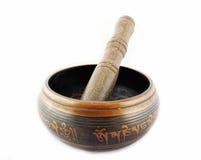 Singing Bowl. Nepalese meditation Singing Bowl on a white background Stock Photos