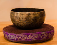 Singing Bowl on a Pillow Stock Photography