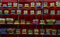 Singing Bowl Shop in Kathmandu, Nepal royalty free stock photos