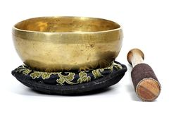 Singing bowl. Small singing bowl isolated on white background Stock Images