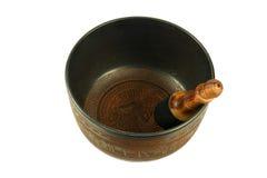 Singing bowls. Metal Tibetan singing bowl isolated on white background Royalty Free Stock Image