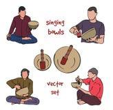 Singing bowls musician set Stock Photo