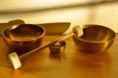 Singing Bowls for Relaxation Stock Photography