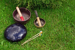 Singing bowls and steel tongue drum royalty free stock photo